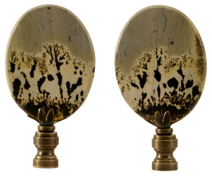 Picture Stone     Finials,   Pair