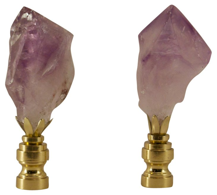 Amethyst  Crystal   Point Finials, Pair