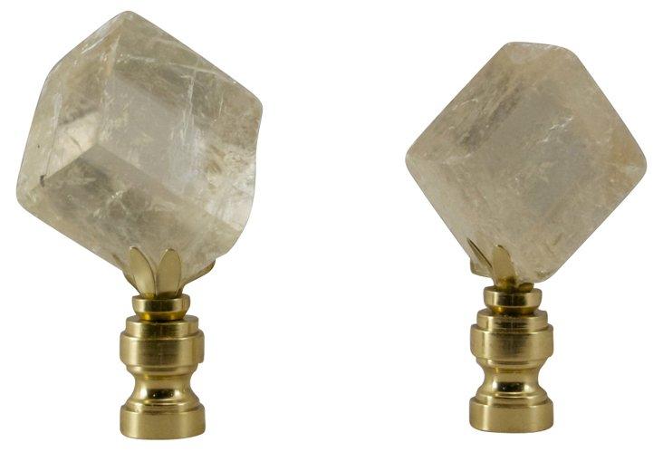 Iceland Spar Calcite Finials,  Pair