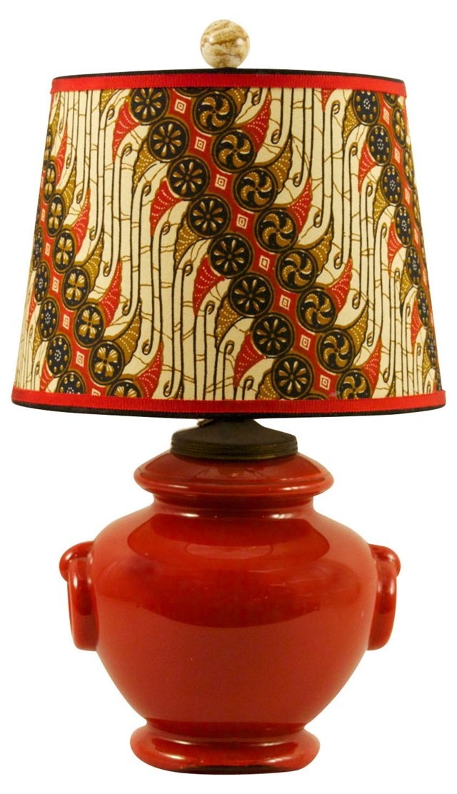 Red Painted Glass Lamp