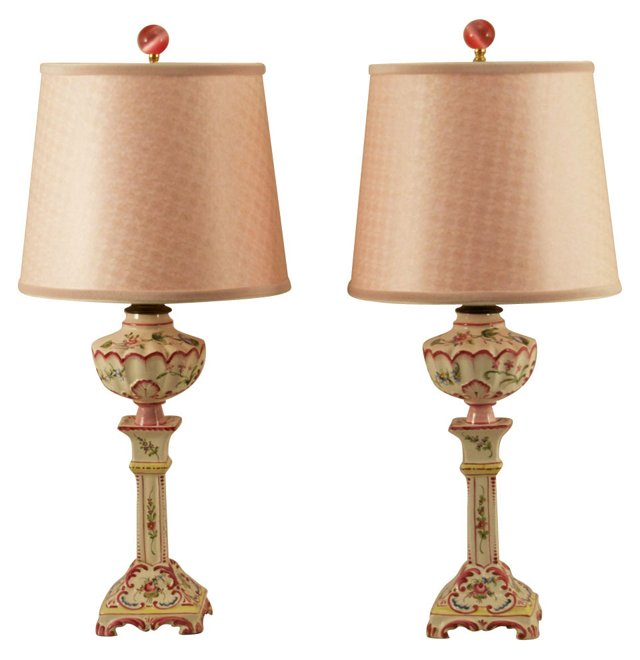 Antique French Painted Lamps, Pair