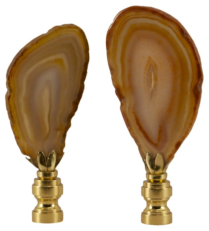 Brown Agate Druzy    Finials,  Pair