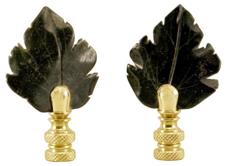 Onyx    Leaf Finials, Pair