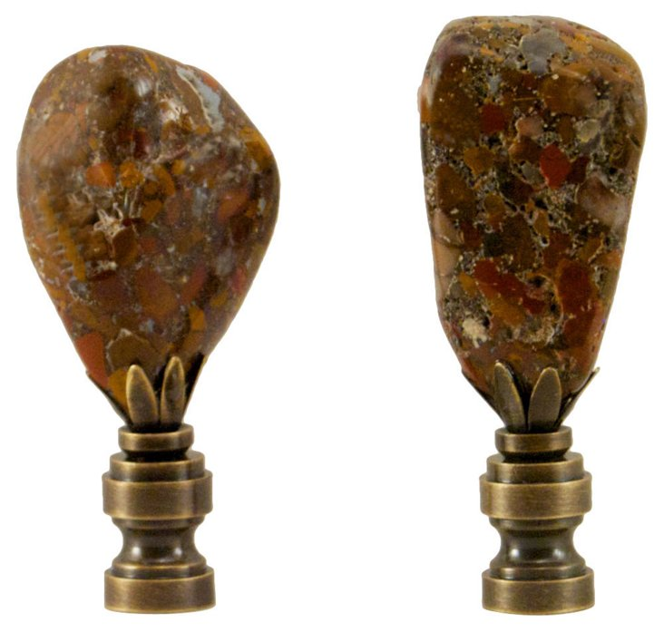 Polished Fossil Finials, Pair