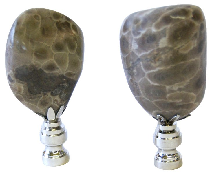Petoskey Stone Finials, Pair