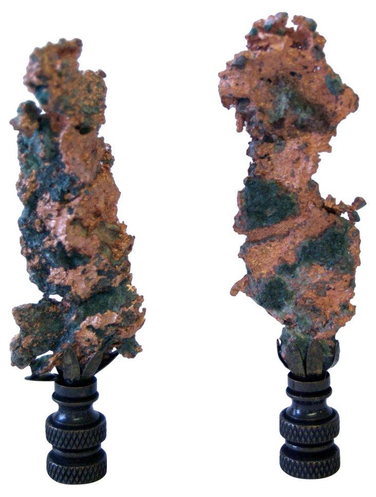 Copper Splash Finials, Pair
