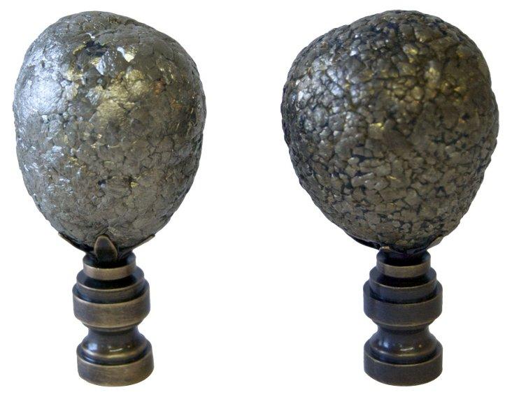 Pyrite Sphere Finials,  Pair