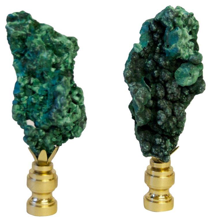 Fibrous     Malachite   Finials,  Pair