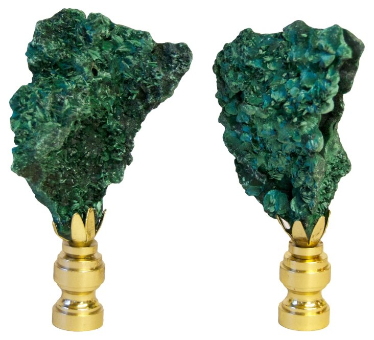 Fibrous      Malachite   Finials,  Pair