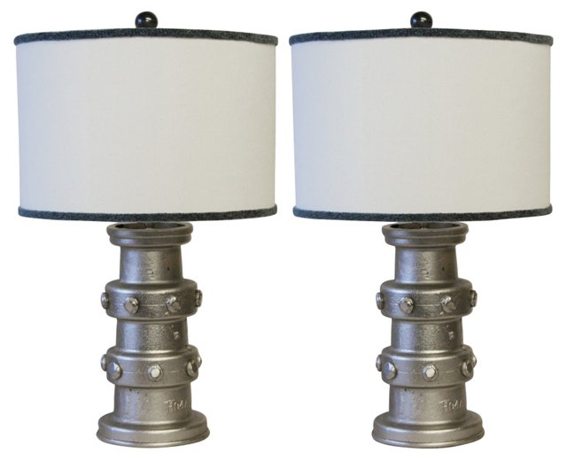 19th-C. Carriage Wheel Hub Lamps, Pair