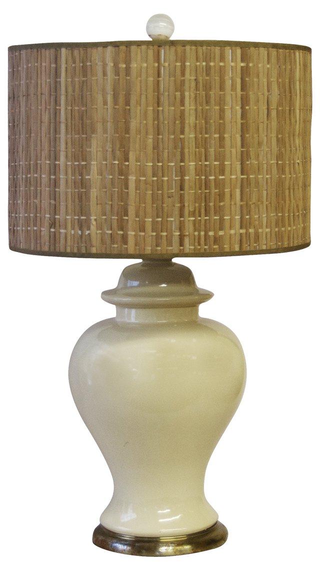 Ivory Ginger Jar Lamp & Bamboo Shade