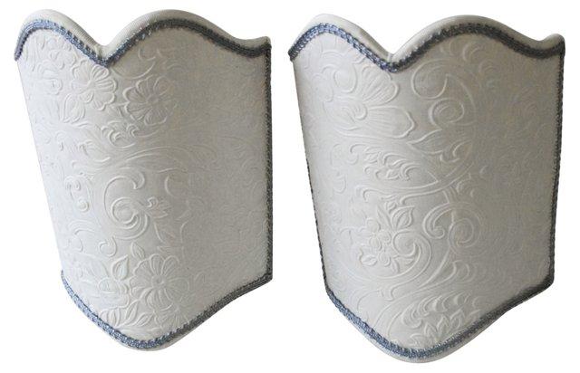 Embossed Wallpaper Shields,     Pair