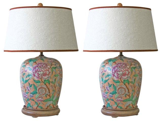 Peony Ginger Jar Lamps, Pair
