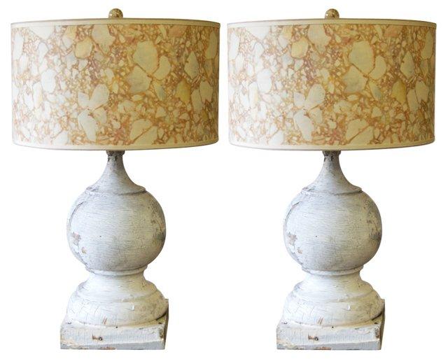 19th-C. Finial Lamps, Pair