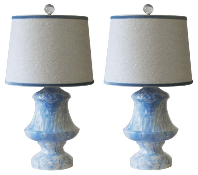 Blue & White Marble Glaze Lamps, Pair