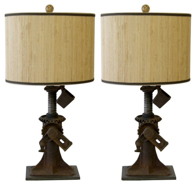 Iron Jack Lamps, Pair