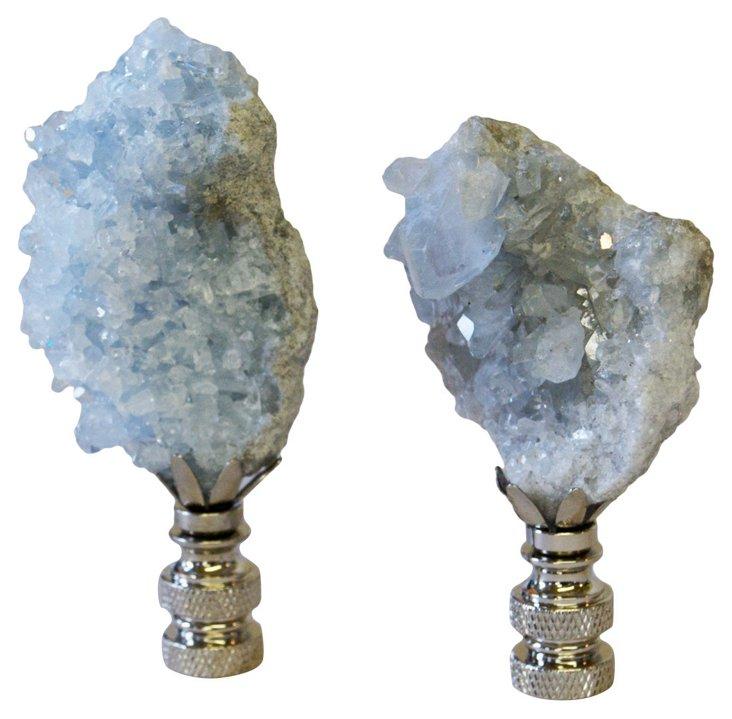 Celestite Crystal   Finials, Pair