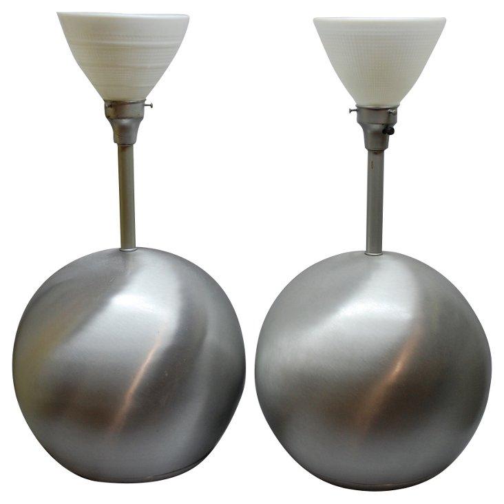 1960s Brush Chrome Ball Lamps, Pair