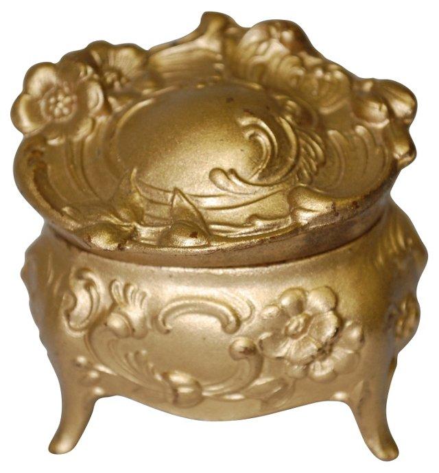 Art Nouveau Mini Gold Jewelry Casket