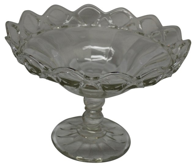 1930s Open Lace Glass Compote