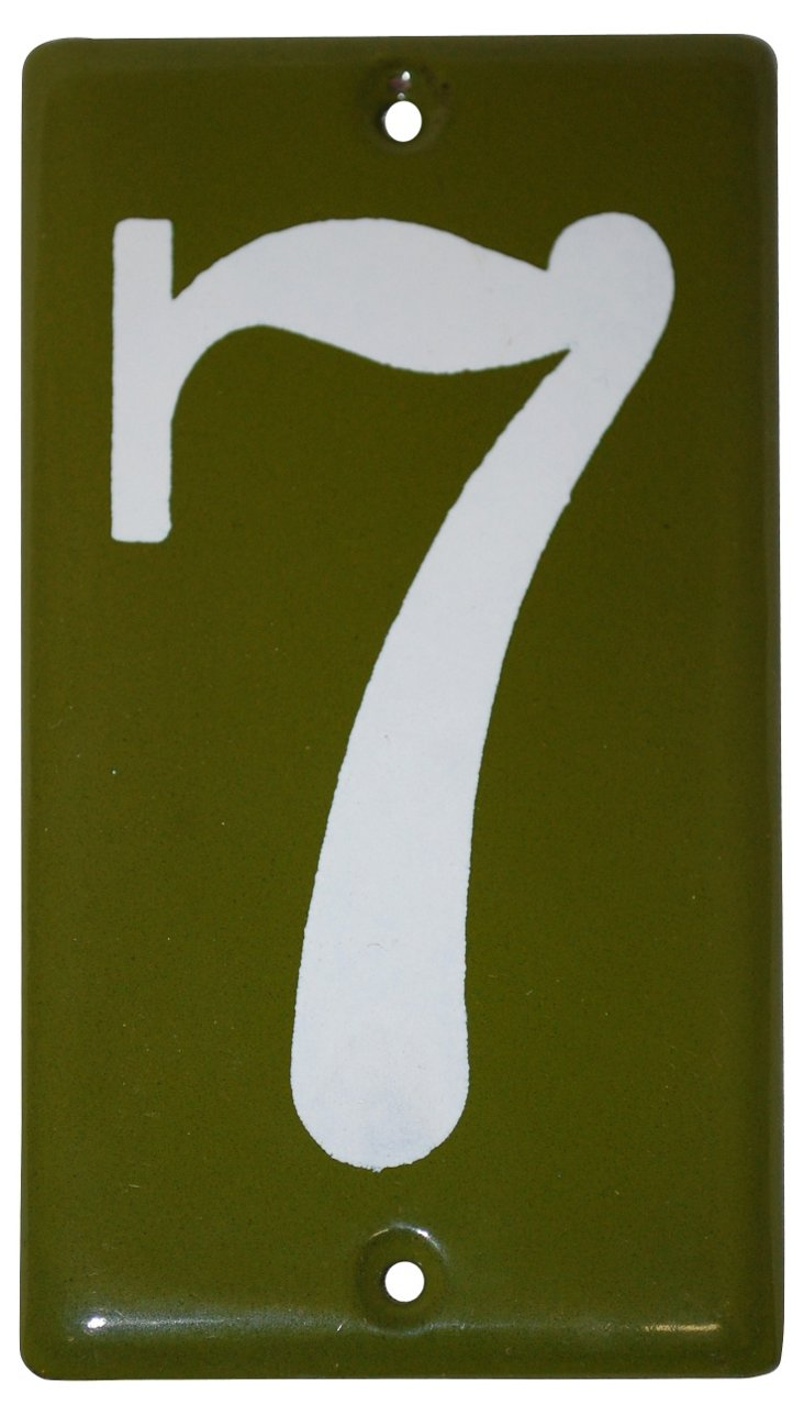 1970s Green Enamel #7 Sign