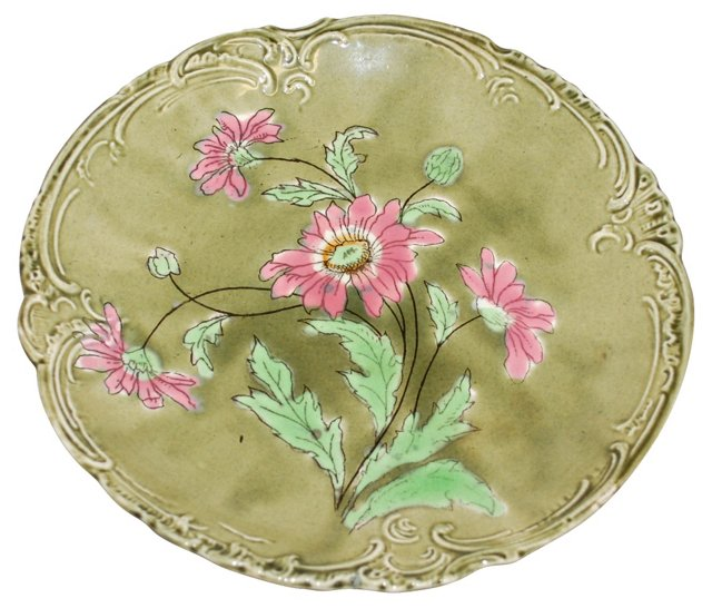 German Majolica Floral Plate
