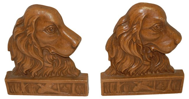 Hunting Dog Syroco Wood Bookends