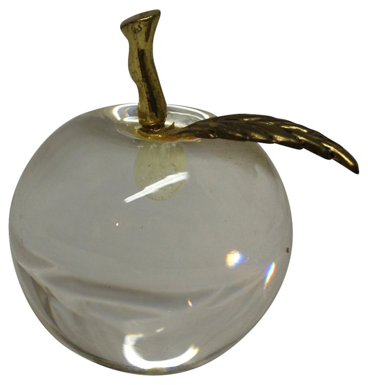 Crystal & Brass Apple Paperweight
