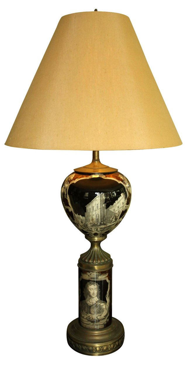 Monumental Decoupage Glass Lamp
