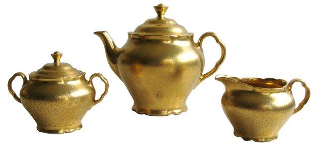 1939 Gold Tea Set, 3 Pcs