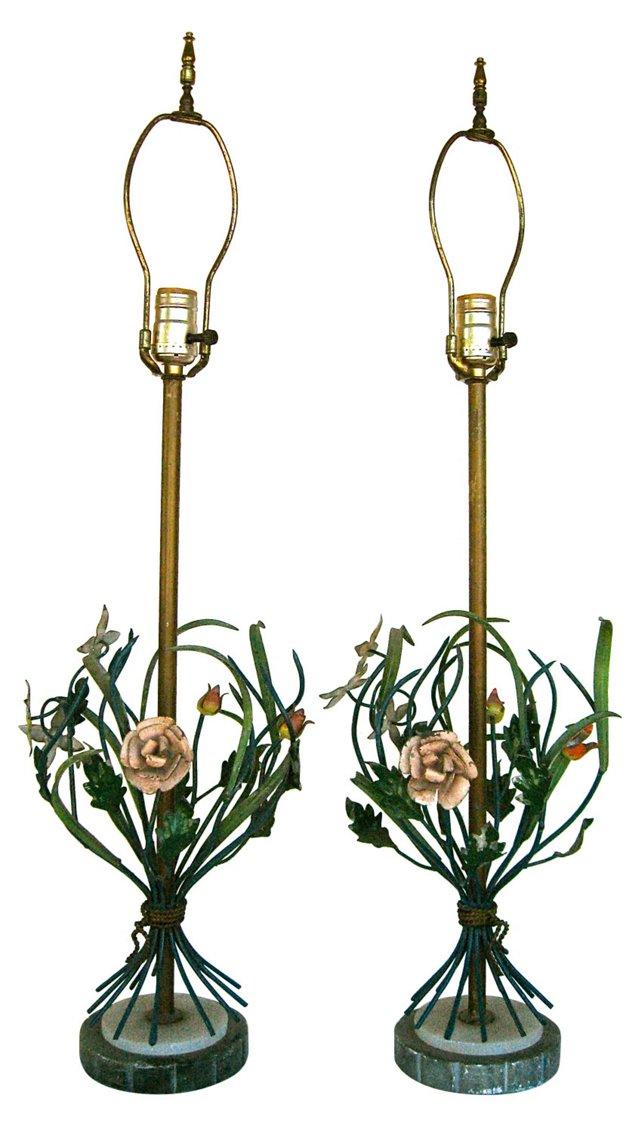 Italian Tole Lamps, Pair