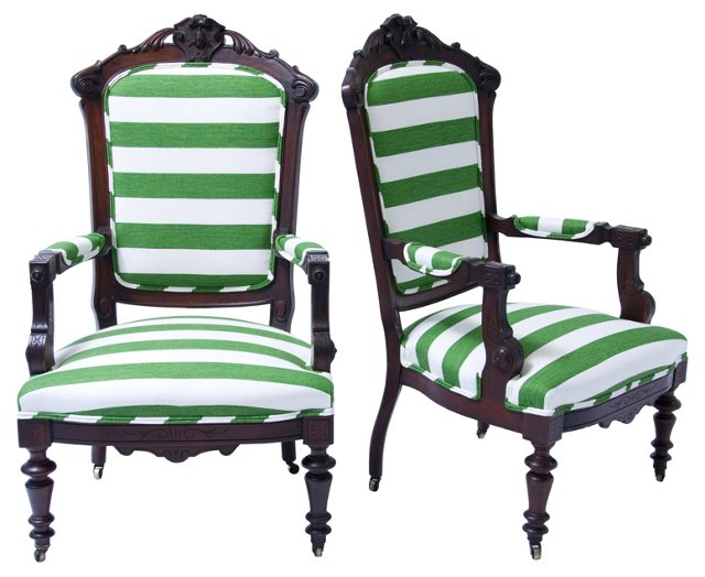 Upholstered  Chairs w/ Casters, Pair