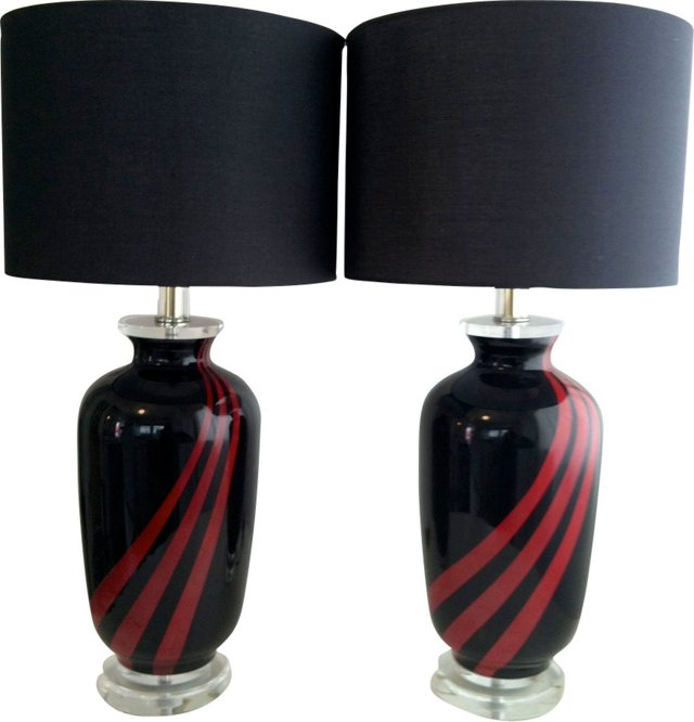 Black & Red Glass Lamp Bases, Pair