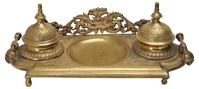 Brass  Victorian-Style Inkwell