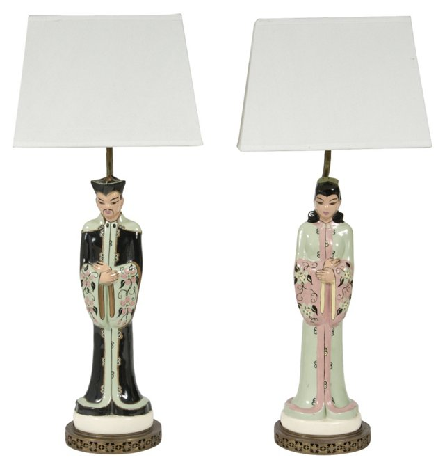 Chinese Figural Lamps, Pair