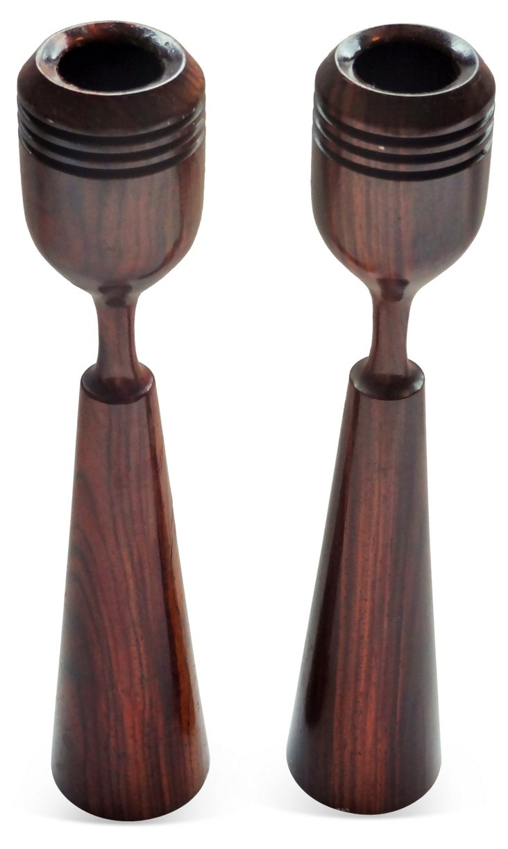 Rosewood  Candleholders, Pair