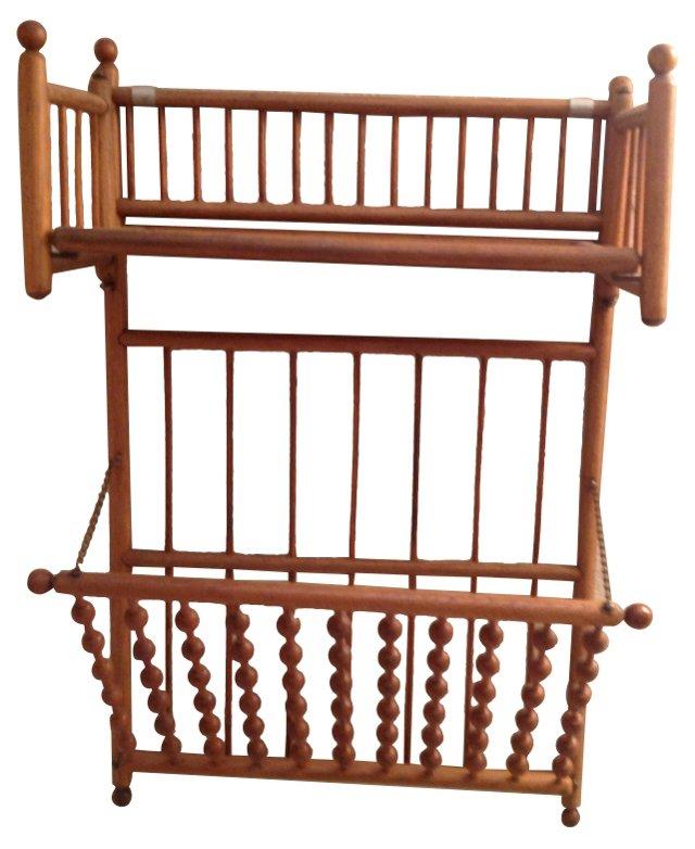 Oak Wall Shelf & Magazine Rack