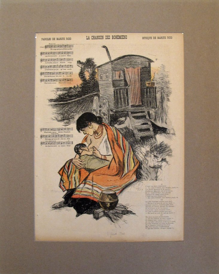 1890s French Lithograph, Bohemians' Song