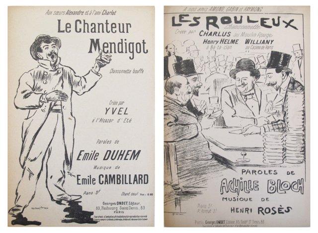 Art Nouveau Music  Sheets, Pair