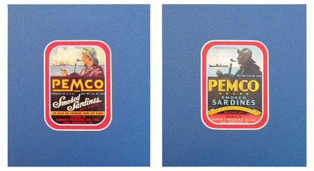 American Sardine Labels, C. 1935,  Pair