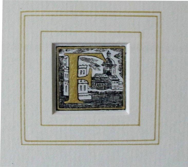 Italian Woodblock Letter F Print, 1765