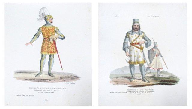 18th-C. Italian Knight Engravings, Pair