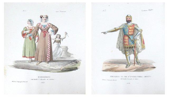18th-C. Italian Costume Designs, Pair