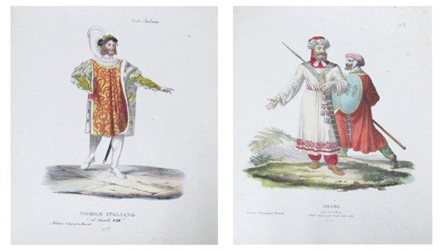 18th-C. Italian Dress Engravings, Pair