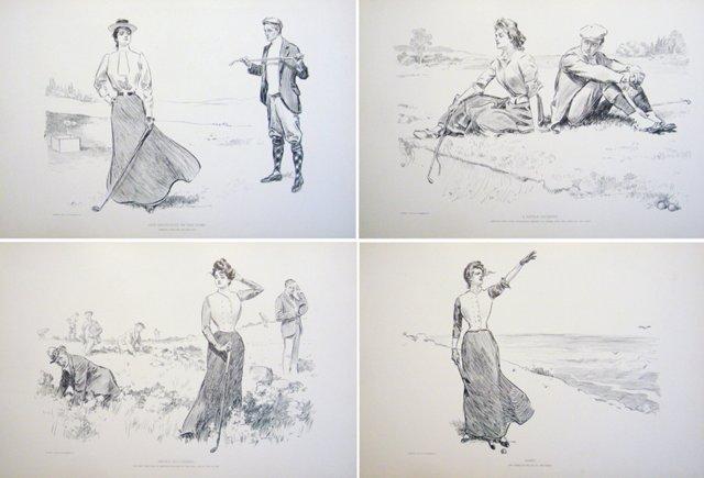 Gibson Golfing Prints, C. 1900, S/4