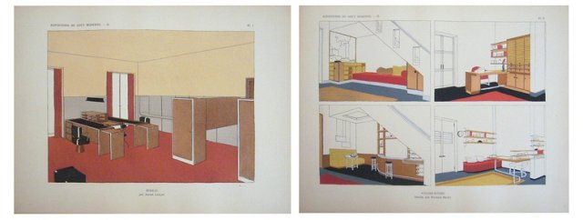 Interior Design Pochoirs, 1929,  Pair