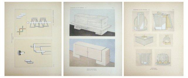 Art Deco Design Pochoirs, 1929, S/3