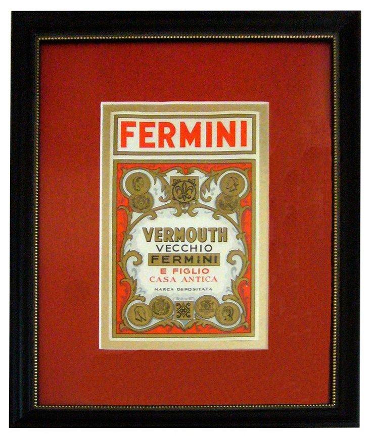 Fermini Vermouth Label, C. 1930