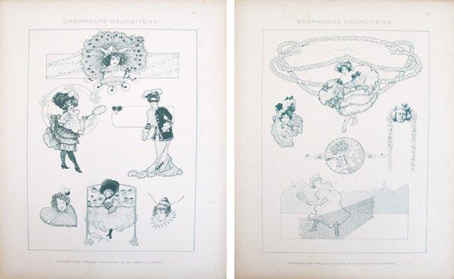 Verdigris Designer Sheets, C. 1900, Pair