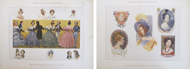 Fashionable Design Sheets, C. 1900, Pair